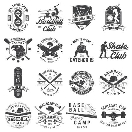 Conjunto de insignia del club de béisbol y patineta. Ilustración vectorial Concepto de camiseta o logotipo, estampado, sello o camiseta. Diseño con silueta de bates de béisbol, catcher, águila, pelota, skater y patineta. Logos