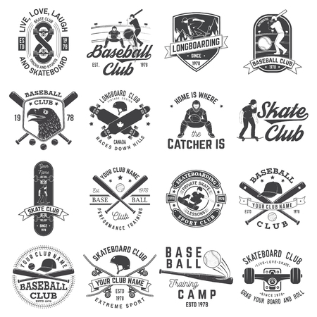 Ensemble d'insigne de club de baseball et de skateboard. Illustration vectorielle. Concept pour chemise ou logo, impression, tampon ou tee. Conception avec des battes de baseball, un receveur, un aigle, une balle, un skateur et une silhouette de planche à roulettes. Logo