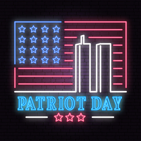 Patriot Day neon sign. We will never forget september 11, 2001. Patriotic banner or poster. Foto de archivo - 110212229