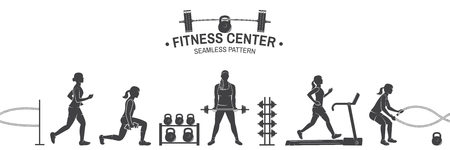 Fitness club seamless pattern or background. Vector illustration. 版權商用圖片 - 110212230
