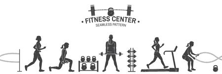 Nahtloses Muster oder Hintergrund des Fitnessclubs. Vektorillustration. Vektorgrafik