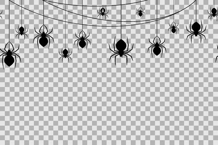 Patrón sin fisuras con arañas para la celebración de Halloween sobre fondo transparente. Ilustración de vector. Fondo de Halloween con arañas negras y telaraña.