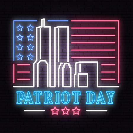 Enseigne au néon Patriot Day. Nous n'oublierons jamais le 11 septembre 2001. Bannière ou affiche patriotique. Vecteurs