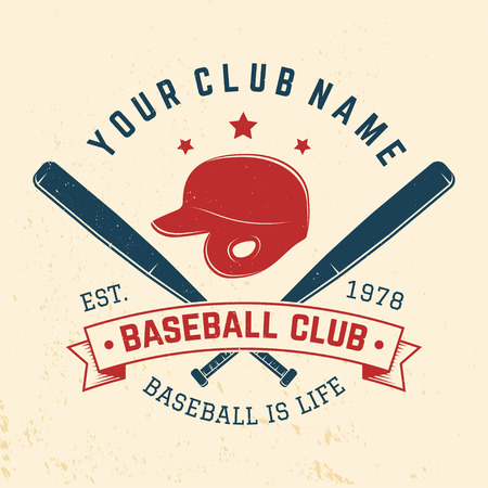 Baseball club badge. Vector illustration. Concept for shirt or logo, print, stamp or tee. Vintage typography design with baseball bats and helment silhouette.