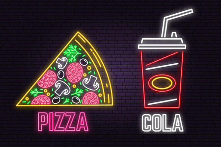 Retro neon cola and pizza sign on brick wall background. Design for fast food cafe.