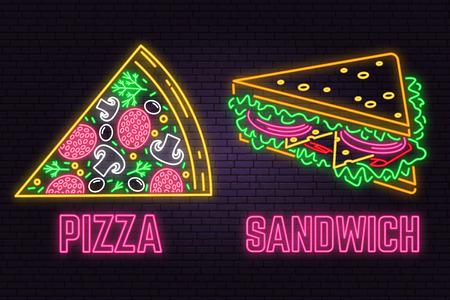 Sandwich néon rétro et signe de pizza sur fond de mur de briques. Conception pour un café de restauration rapide. Vecteur. Design néon pour magasin, bar, pub ou restauration rapide. Sandwich léger et bannière de signe de pizza. Tube de verre
