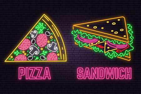 Retro neon sandwich and pizza sign on brick wall background. Design for fast food cafe. Vector. Neon design for shop, bar, pub or fast food business. Light sandwich and pizza sign banner. Glass tube Illustration