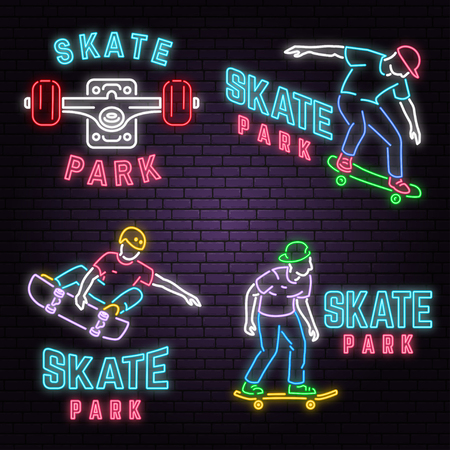 Set of neon skate park sign on brick wall background. Vector illustration. Neon design for skate park emblems, gym signs related health and gym business. Night bright advertisement with skateboarder