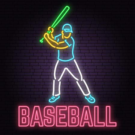 Neon Baseball sign on brick wall background. Vector illustration. 版權商用圖片