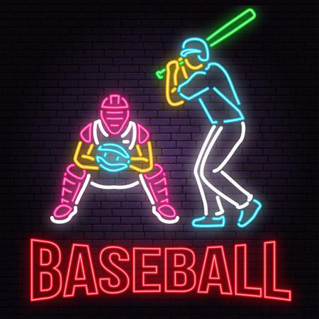Neon Baseball or softball sign on brick wall background. Vector illustration.