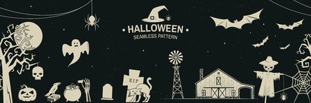 Seamless pattern for Halloween celebration with retro grunge effect. Vector illustration.