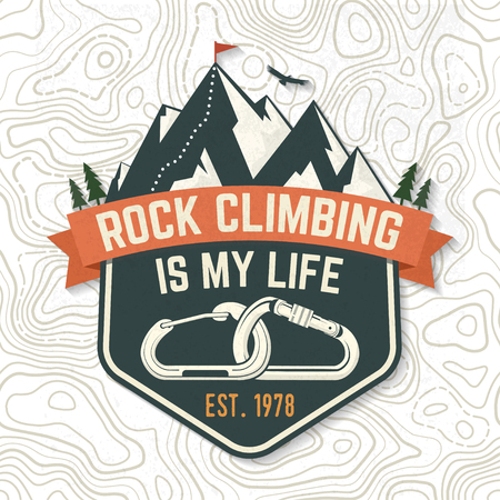 Vintage typography design with carabiners, condor and mountain silhouette. Vettoriali
