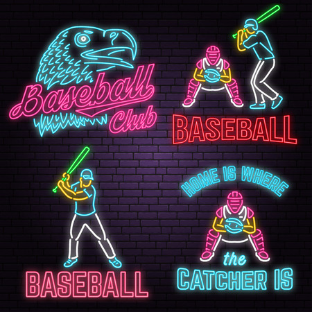 Set of Neon Baseball club badge. Vector illustration. Concept for shirt or logo, print, stamp or tee.