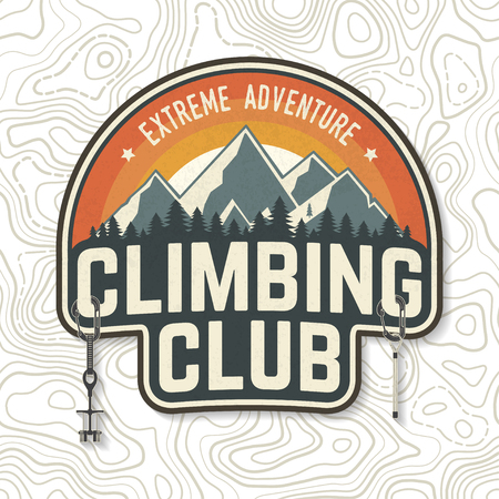Vintage typography design with carabiners, condor and mountain silhouette. Иллюстрация