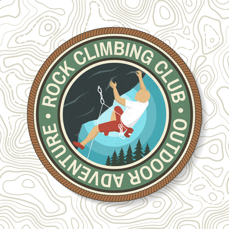 Rock Climbing club badge. Vector illustration. Concept for shirt or logo, print, stamp or tee. Vintage typography design with climber on the mountains. Outdoors adventure.