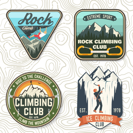 Set of Rock Climbing club badges. Vector illustration. Concept for shirt or print, stamp, patch or tee. Vintage typography design with climber, carabiner and mountains. Extreme adventure. Illustration