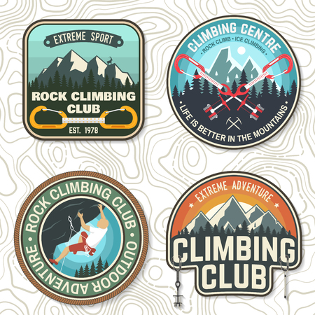 Set of Rock Climbing club badges. Vector illustration. Concept for shirt or print, stamp or tee. Vintage typography design with climber, carabiner and mountains. Extreme adventure.