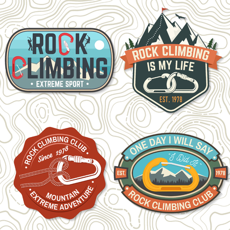 Set of Rock Climbing club badges. Vector illustration. Concept for shirt or print, stamp, patch or tee. Vintage typography design with climber, carabiner and mountains. Extreme adventure. Vettoriali
