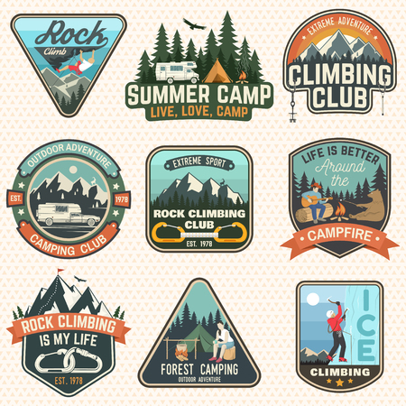 Set of Rock Climbing club and summer camp badges. Vector Concept for shirt or print, stamp, patch or tee. Vintage typography design with camping tent, trailer, camper, climber, carabiner and mountains