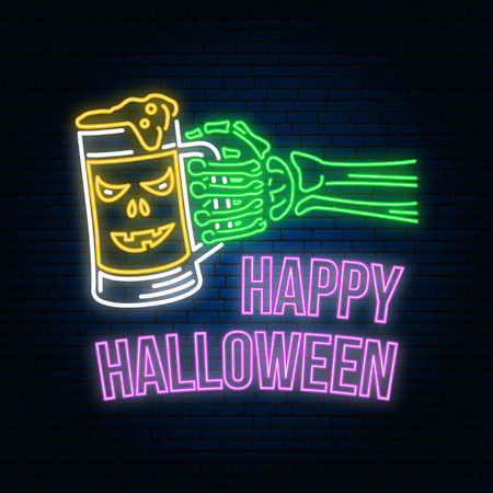 Happy Halloween neon sign or emblem. Vector illustration. Happy Halloween light banner with Skeleton hand with glass of magic beer. Night bright advertisement. Neon template for banner, poster, card Foto de archivo - 109985310