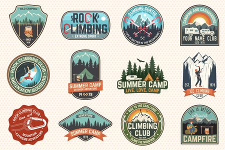 Set of Rock Climbing club and summer camp badges. Vector Concept for shirt or print, stamp, patch or tee. Vintage typography design with camping tent, trailer, camper, climber, carabiner and mountains Vektorové ilustrace
