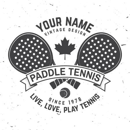 Insigne, emblème ou signe de paddle-tennis. Illustration vectorielle.