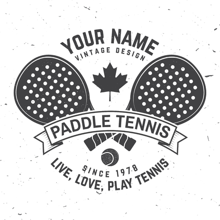 Paddle tennis badge, emblem or sign. Vector illustration.