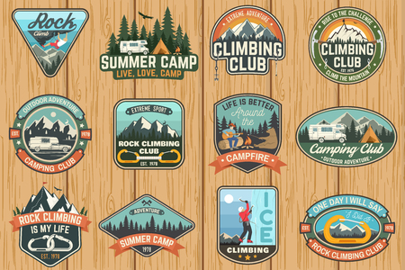 Set of Rock Climbing club and summer camp badges. Vector. 스톡 콘텐츠