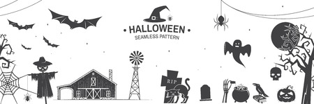 Seamless pattern for Halloween celebration silhouette. Vector illustration. 写真素材