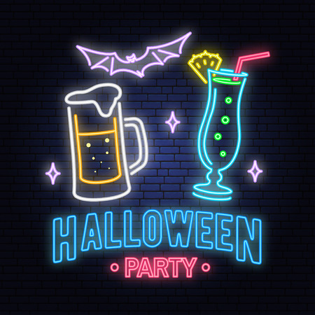Halloween party neon sign. Vector illustration. Happy Halloween light banner with Beer, cocktail and bat. Night bright advertisement. Neon sign for banner, billboard, promotion or advertisement. Illustration