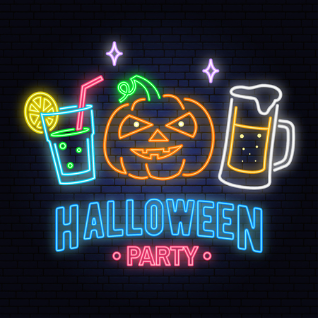 Halloween party neon sign. Vector illustration. Happy Halloween light banner with Beer, cocktail and pumpkin. Night bright advertisement. Neon sign for banner, billboard, promotion or advertisement.