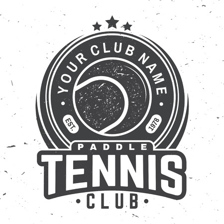 Paddle tennis club badge, emblem or sign. Vector illustration. Concept for shirt, print, stamp or tee. Vintage typography design with paddle tennis ball silhouette. Çizim