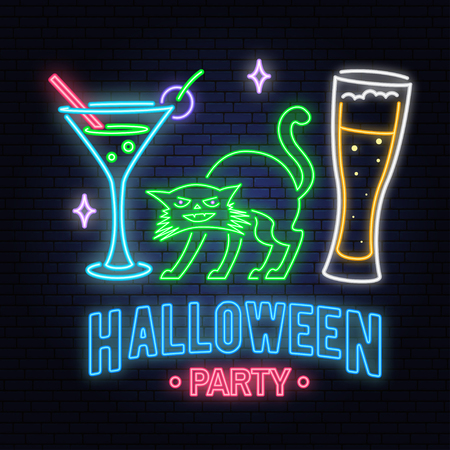 Halloween party neon sign. Vector illustration. Happy Halloween light banner with Beer, cocktail and cat. Night bright advertisement. Neon sign for banner, billboard, promotion or advertisement. Illustration