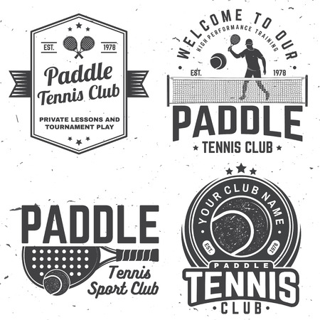 Set of Paddle tennis badge, emblem or sign. Vector illustration. Concept for shirt, print, stamp or tee. Vintage typography design with paddle tennis racket, visor and paddle ball silhouette. Banque d'images - 110212434
