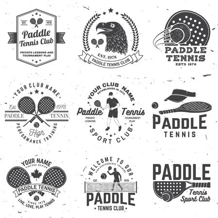 Set of Paddle tennis badge, emblem or sign. Vector illustration. Concept for shirt, print, stamp or tee.
