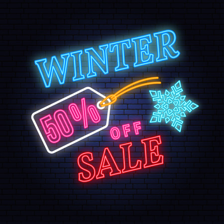 Winter sale neon sign with christmas tag hanging. Vector illustration Stock Photo