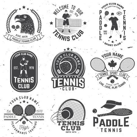 Ensemble d'insigne, d'emblème ou de signe de paddle-tennis et de tennis. Vecteur. Concept pour chemise, impression, timbre ou tee.
