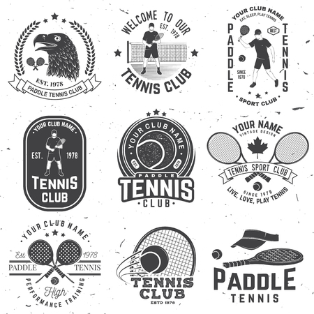 Set of Paddle tennis and tennis badge, emblem or sign. Vector. Concept for shirt, print, stamp or tee.