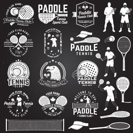 Ensemble d'insigne, d'emblème ou de signe de paddle-tennis. Illustration vectorielle. Concept pour chemise, impression, timbre ou tee. Vecteurs