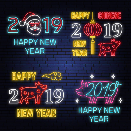 Set of 2019 Happy New Year Neon sign with Pig, Santa Claus lanterns. Vector Illustration. Stok Fotoğraf