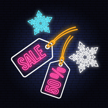 Winter sale neon sign with christmas tag hanging and snowflakes. Vector illustration. Фото со стока