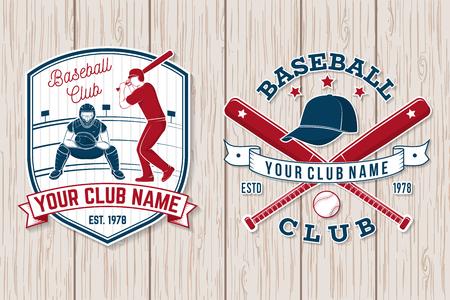 Set of baseball or softball club badge. Vector illustration. Concept for shirt or logo, 版權商用圖片