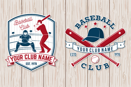 Set of baseball or softball club badge. Vector illustration. Concept for shirt or logo, Stock Photo