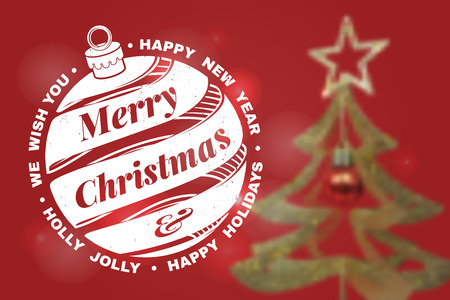 We wish you a very Merry Christmas and Happy New Year stamp, sticker set with christmas bell. Vector illustration.