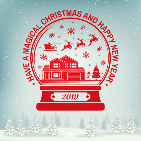 Have a Magical Christmas and Happy New Year stamp, sticker set with snowflakes, christmas snow globe. Vector illustration.