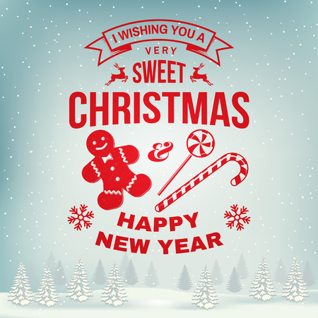 I wish you a very sweet Christmas and Happy New Year stamp, sticker set with snowflakes, christmas candy, cookie. Vector. Illustration