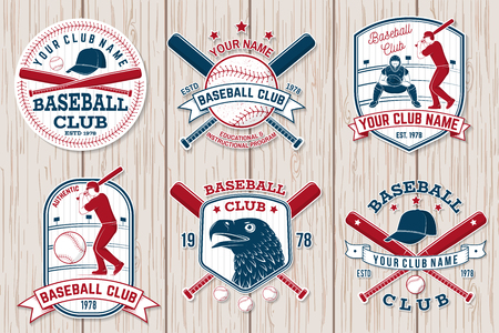 Set of baseball or softball club badge. Vector illustration. Concept for shirt or logo, 일러스트