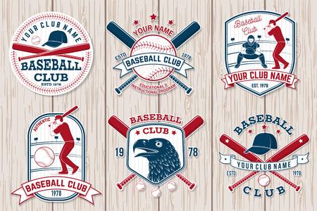 Set of baseball or softball club badge. Vector illustration. Concept for shirt or logo, Illustration