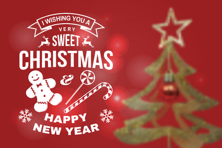 I wish you a very sweet Christmas and Happy New Year stamp, sticker set with snowflakes, christmas candy, cookie. Vector. Stock Vector - 110212663