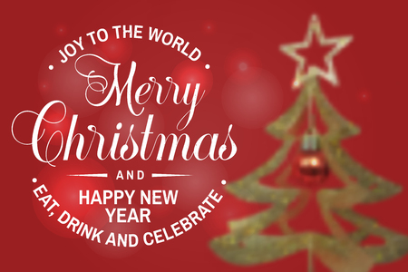 Joy to the world. Merry Christmas and Happy New Year stamp, sticker. Vector illustration.